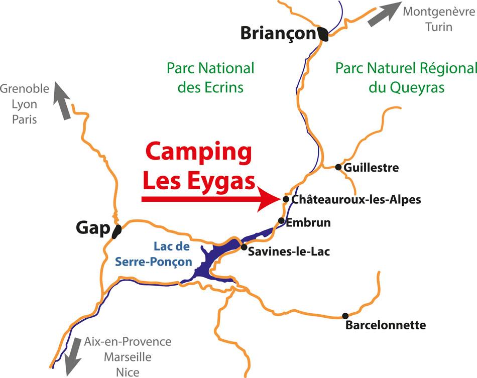 Routebeschrijving naar Camping Les Eygas